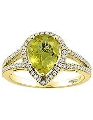 14K Gold Natural Lemon Quartz Ring Pear Shape 9x7 mm Diamond Accents, sizes 5 - 10