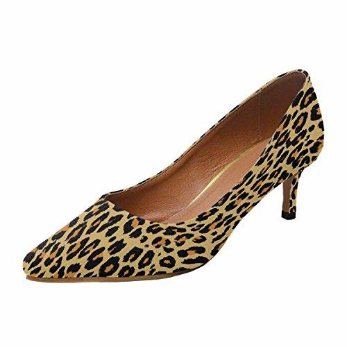 Scarpe Da Donna Low Cost Con Tallone Gattino Scarpe A Punta Tubino Leopard Multi 1