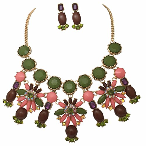 Large Statement Multi Colored Bubble Bib Chunky Gold Tone Necklace Earrings Set (Green)