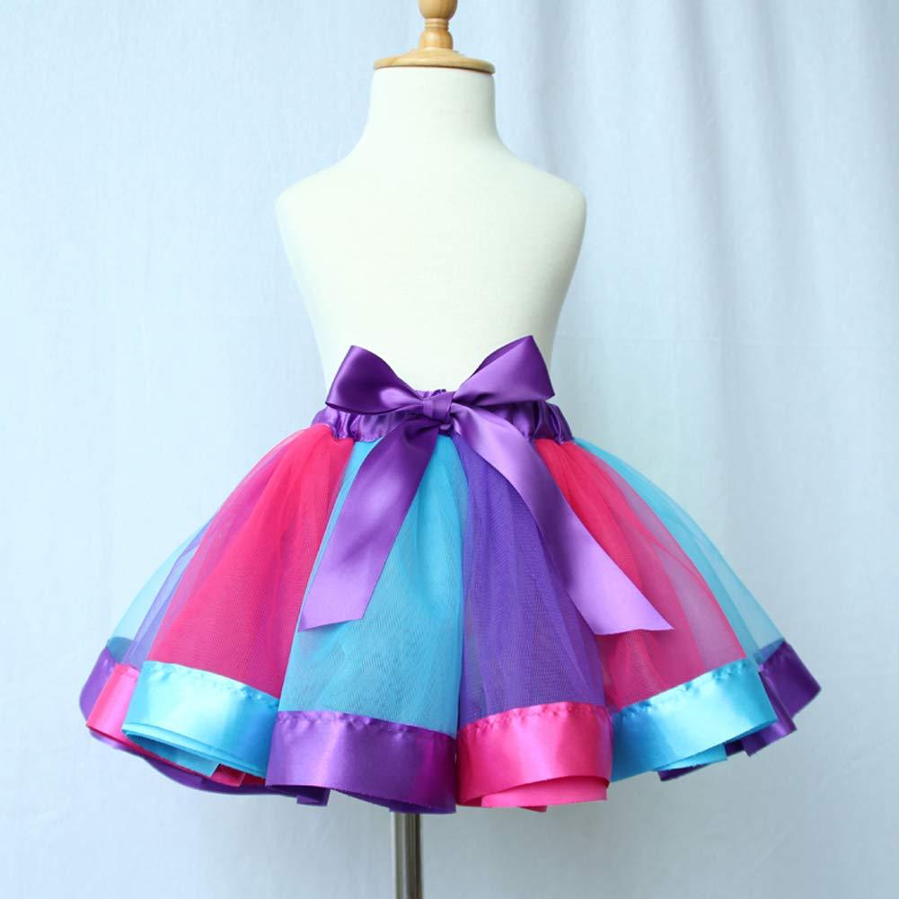 YFCH Petite Fille Jupe Tutu Multicolore Taille /Élastique Jupe de Danse Ballet Couches avec Bandeau de N/œud Papillon