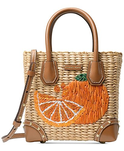 MICHAEL Michael Kors Malibu Medium Straw Messenger Crossbody Bag, Natural Tangerine ()