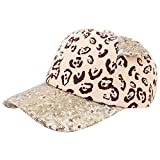 Rebecca Kids Girls Boys Sparkle Sequins Mesh Baseball Cap Cat Ears Glitter Shimmer Peak Cap Adjustable Sun Hat Khaki