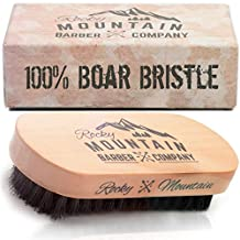 Men's Hair Brush- 100% Pure Black Boar Hair Natural Bristle for Beard, Moustache - Firm Military Style with Handmade Wood Handle – No Snags, No Scratch, Gentle Bristle Comb that Can be Used with Beard Oil & Beard Wax– BONUS Gift Box