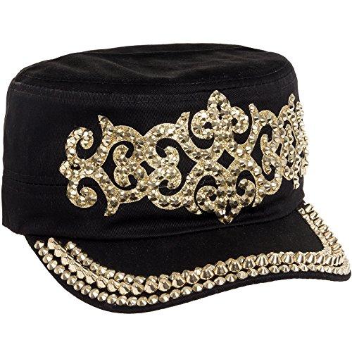 Cotton Rhinestone Studded Medieval Military Cap (Black/Gold) (Sparkle Cap)