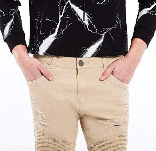 Uomo Strappati Fit Distrutti Giovane Moda Stretch Pantaloni Hellkhaki Denim Jeans Casual Slim Da Vintage aqIxWwX