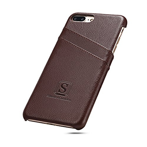 (iPhone 8 Plus/iPhone 7 Plus Luxury Leather Case with Slots for ID/Bank Cards, Ultra Slim Cover by Simons of London in Pouch and Gift Box - Walnut Brown)
