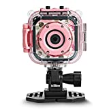 DROGRACE Kids Camera Waterproof Digital Video HD Action Camera Sports Camera Camcorder DV for Girls Birthday Holiday Learn Camera Toy with Waterproof Camera Accessories 1.77'' LCD Screen (Pink)
