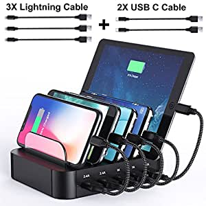 Charging Station,USB Charging Station Dock ALLFU 5-Port Charging Stand Organizer Multiple Charger Station & Desktop Docking Station for iPhone,iPad,Tablets,Samsung Galaxy,Include 5 Cables -Black
