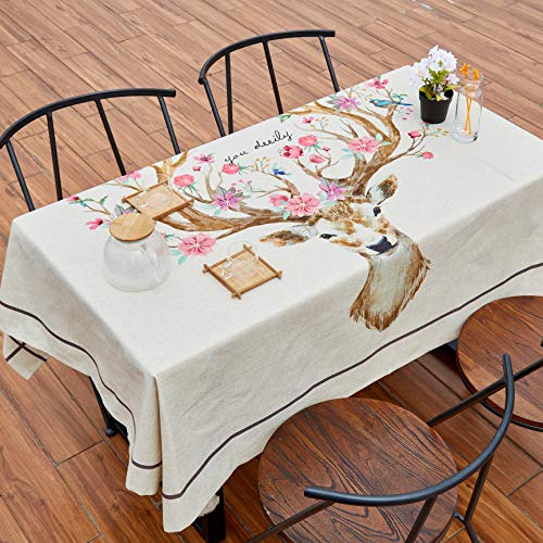 Inshere Tableclothes for Rectangle Tables Cover Cotton Linen Waterproof Tablecloth Washable Kitchen Dnning Tabletop Decoration Home Decor (Deer, -
