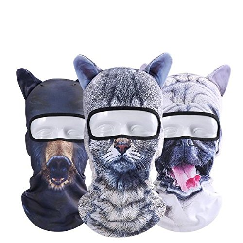 Winnerbe Unisex Motorcycle Face Mask 3D Animal Ear Balaclava Neck For Halloween Christmas Party Skiing 04