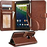 Nexus 6P case, Arae Huawei Nexus 6P wallet case,[Wrist Strap] Flip Folio [Kickstand Feature] PU leather wallet case with ID&Credit Card Pockets for Google Nexus 6P (Brown)