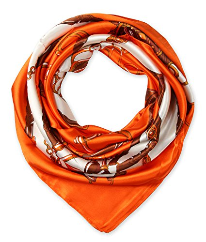 Ladies Pretty Satin Neckerchief Square Scarf headband 35 x 35 inches Chains Belts Orange by corciova (Scarf Belt Headband)