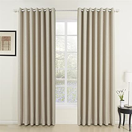 IYUEGO Wide Curtains 120Inch 300Inch For Large Windows Classic Beige Curtain Solid Grommet Top Room