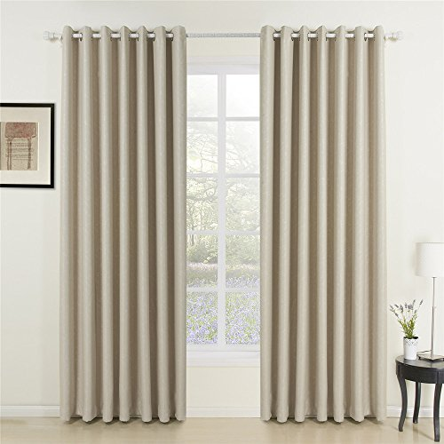 IYUEGO Classic Ivory Solid Grommet Top Lining 95% Blackout Curtains Draperies With Multi Size Customs 100″ W x 102″ L (One Panel) Review