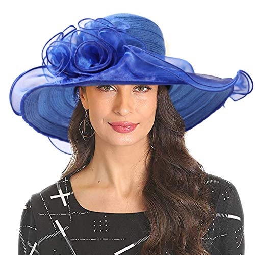 Women's Organza Kentucky Derby Church Dress Hat Fascinator Bridal Wide Brim Tea Party Wedding Hat Blue]()