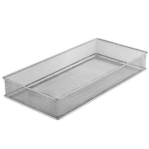 YBM HOME Silver Mesh Drawer Cabinet and or Shelf Organizer Bins, School Supply Holder Office Desktop Organizer Basket 1591s (1, 6x12x2 Inch) (Mesh Drawer Organizer Silver)