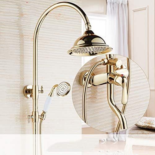 シャワーセット、壁掛けセラミック2つのハンドル浴槽タップ、ハンドシャワーゴールド仕上げスイベルスパウト浴槽シャワータップ、ホテル、バスルームに適し,金