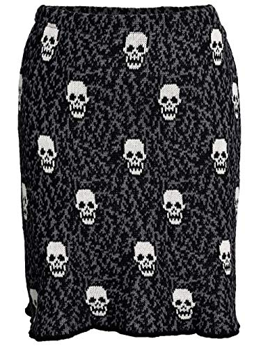 Green 3 Women's Recycled Cotton Skulls Pencil Skirt Sweater Knit (Black) Made in USA (X-Large) ()