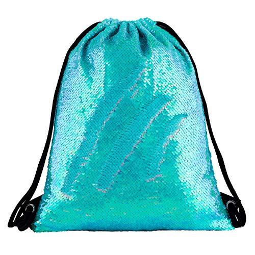 Sequin Drawstring Backpack Bag Mermaid Gym Dance Bags Magic Reversible Glitter Bag Unicorn Gift for Girls Daughter Boy Flip Sequin School Bag Birthday Gift for Kids Teen Women (Dazzling Cyan)