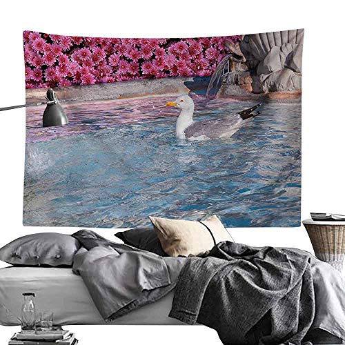 Homrkey Commemorative Tapestry Seagulls Decor Collection Seagull in Fountain Flowers Marble Statue Architecture Touristic Town Cityscape Image Tapestry for Room W84 x L54 Pink White
