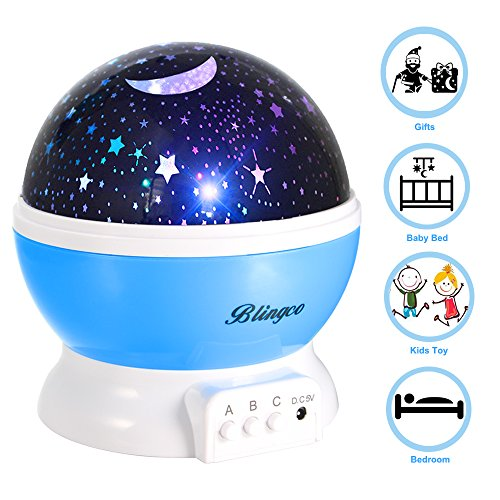 Star Night Light Projector For Kids  Blingco Childrens Night Light Lamp  Baby Rotating Star Projector  4 Led Bulbs 8 Color Changing Modes With Usb Cable  Unique Gifts For Kids Baby Children  Blue