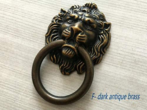 Diamond Door Knocker - (Set of 1) - Lion Head Drawer Knob Door Knocker Antique Bronze Gold Black Silver Brass Pewter 1PCs (Brass)