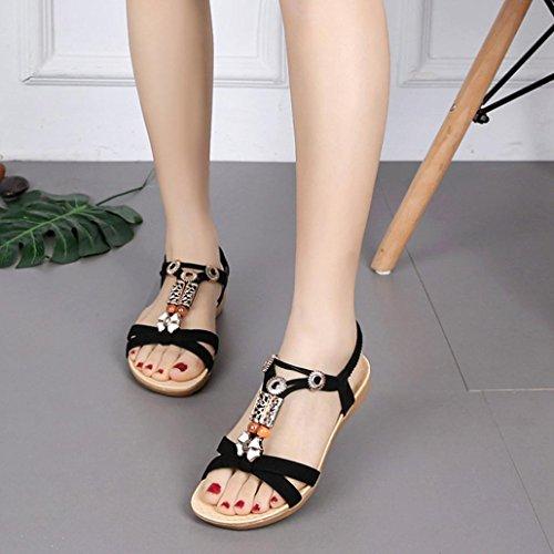 Chaussures Ado Plage Noir Boheme Angelof Bretelles Lastiques Strass Escarpin t avec Sandales Plates FermEs Femmes Fille Femmes Sandales E1qT61F