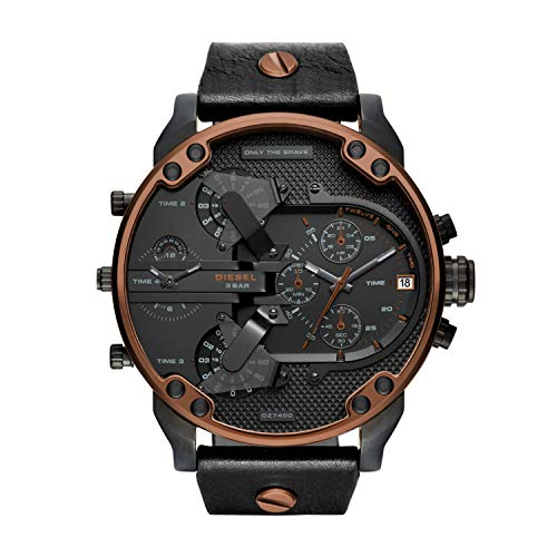 Watch Diesel Chronograph (Diesel Men's Mr Daddy 2.0 Quartz Stainless Steel and Leather Chronograph Watch, Color: Black (Model: DZ7400))