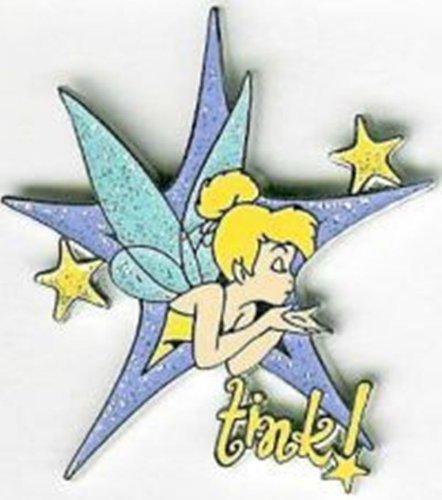 Disney Pin Tinkerbell Tinker Bell Blowing Kiss Purple Glitter Star Tink! Pin 24278