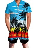 Mens Suit Romper 3D Pattern Hawaiian Jumpsuit Palm Tree and Sunset Blue Overalls 90s Teen Clothes Fun Outfit Summer Tropical Slim Fit Short Sleeve Zip Up Sweet Romper with Pocket