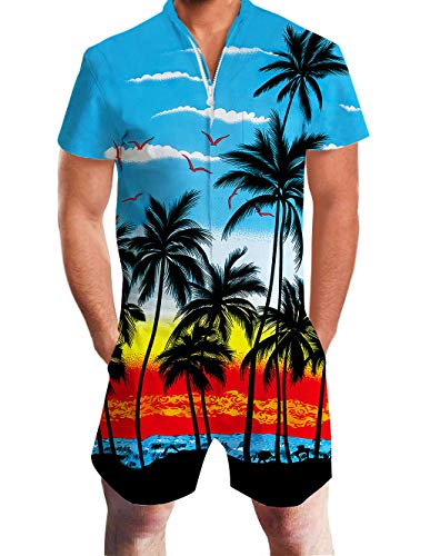 Romper Hawaiian - Mens Suit Romper 3D Pattern Hawaiian Jumpsuit Palm Tree and Sunset Blue Overalls 90s Teen Clothes Fun Outfit Summer Tropical Slim Fit Short Sleeve Zip Up Sweet Romper with Pocket