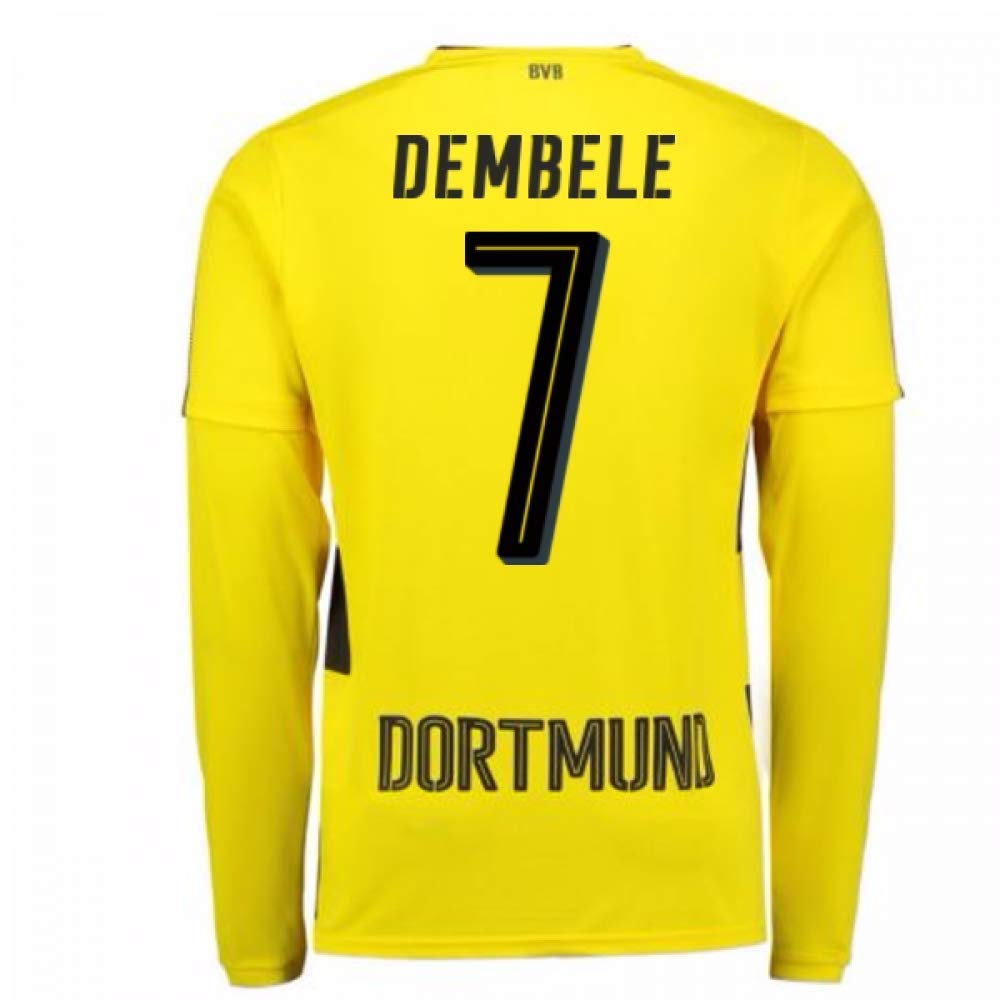 2017-18 Borussia Dortmund Long Sleeve Home Football Soccer T-Shirt Trikot (Ousmane Dembele 7)