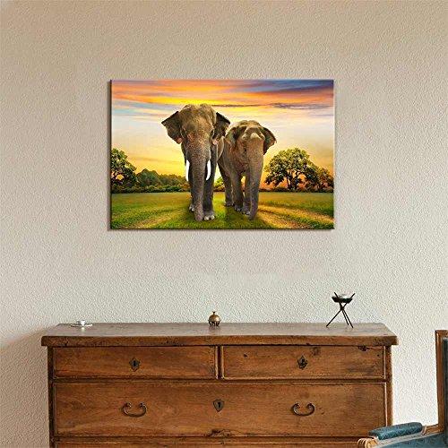 Elephants Family at Sunset Wall Decor