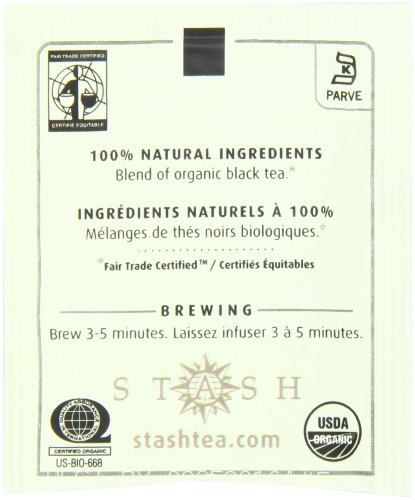 Stash Tea Organic Breakfast Blend Black Tea 100 Count Tea Bags in Foil (packaging may vary) Individual Black Tea Bags for Use in Teapots Mugs or Cups, Brew Hot Tea or Iced Tea 3 START THE DAY RIGHT: For our organic Breakfast Blend Black Tea, we combine flavorful Ceylon from Sri Lanka and full-bodied, dark Indian Assam for a rich and invigorating blend. Great with a splash of milk, sweetened with sugar or honey, or unadorned. 100 COUNT BOX:  Individually packaged bags guarantee every cup will taste as fresh as the day it was bagged, whether herbal, white, green, black, or oolong. Steep your tea according to instructions on box & enjoy every sip of premium quality Stash Tea PREMIUM BAGGED TEA: All our teas, herbal, black, green, white or oolong, are of the highest quality. For delicious flavor in every steep, our tea bags are packaged in stay-fresh foil wrappers to keep your tea fresh, from morning chai to bedtime chamomile.