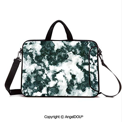 AngelDOU Laptop Sleeve Notebook Bag Case Messenger Shoulder Laptop Bag Abstract Stone Facet Artistic Blurry Layered Shades Textured Image Decorative Compatible with MacBook HP Dell Lenovo Forest Gre
