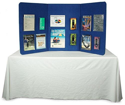 Displays2go 72 x 36 Inches Lightweight and Portable 3 Panel Presentation Board and Velcro-Receptive Blue Fabric with Carrying Bag (3PTTBLUE)