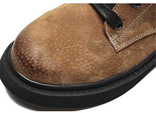 Alto De Sin Liangxie Marrón Para Cuero Herramientas Martin Inglaterra Zapatos Botas Tacón Mujer q8T8Bg
