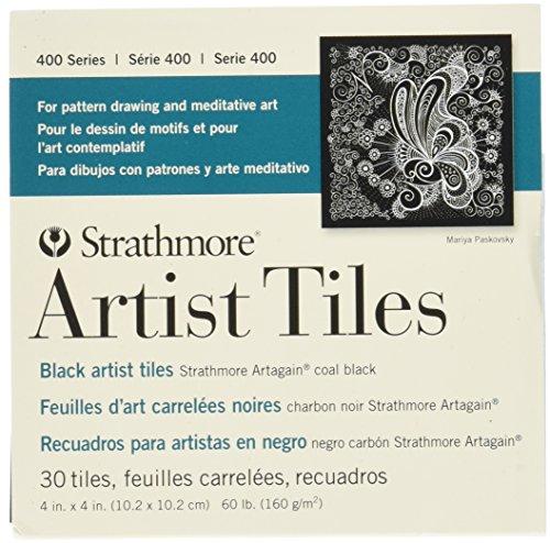 Strathmore STR-105-979 Artist Tiles Coal Black (30 Pack), 4 by 4