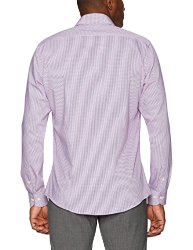 Buttoned Down Men's Slim Fit Spread-Collar Non-Iron Dress Shirt, Berry/Red/Navy Tatersol, 17.5'' Neck 37'' Sleeve by Buttoned Down (Image #4)