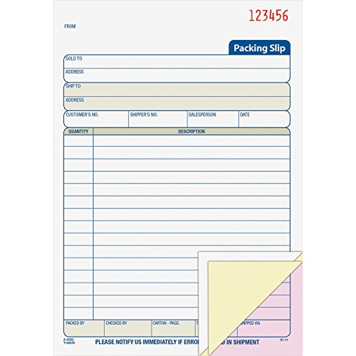 Adams Packing Slip Book (Adams Business Forms ABFT5082 Packing Slip Book- 3-Part- .50in.x5-.50in.x8-.4in.- 50 Sets-BK- WE by Adams Business Forms)