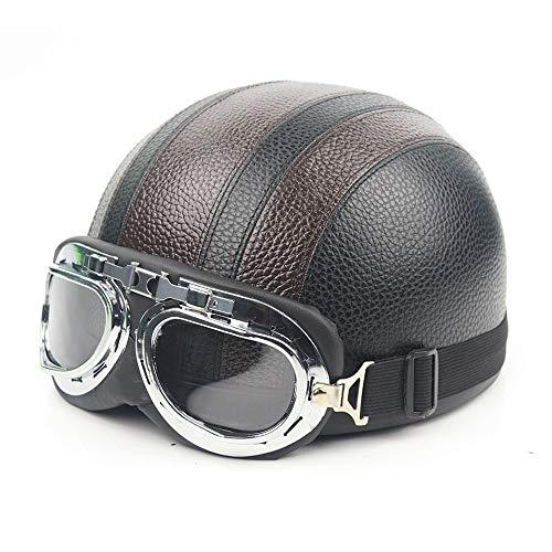 오토바이 헬멧 하프 반모 프리 사이즈 고글 사계절 UV방지 렌즈 경량내 충격성 방충제 (옵션 : 블랙브라운 , 블랙블랙, 블랙 화이트, 블랙레드)