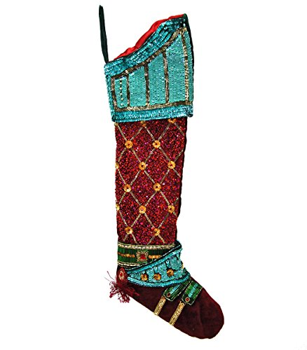 Katherine's Collection Turquoise Dark Red Sequin Nutcracker Christmas Stocking - Katherines Collection Christmas Stocking