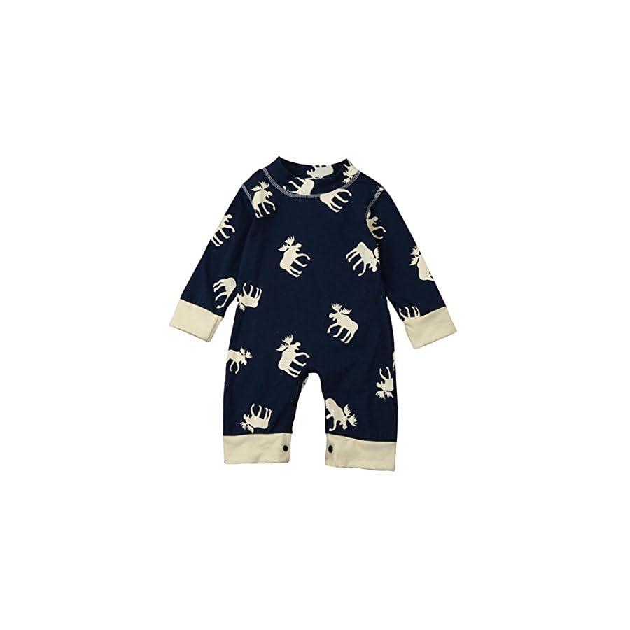 GBSELL Toddler Baby Girl Boy Deer Long Sleeve Romper Jumpsuit Pajamas Outfits