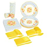 plastic bbq set - Disposable Dinnerware Set - Serves 24 - Vintage Floral Party Supplies - Includes Plastic Knives, Spoons, Forks, Paper Plates, Napkins, Cups