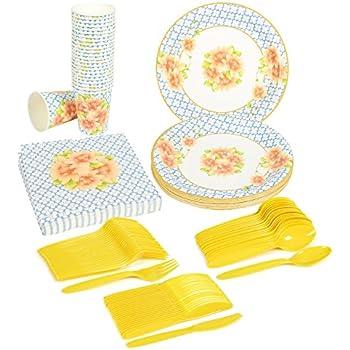 Disposable Dinnerware Set - Serves 24 - Vintage Floral Party Supplies - Includes Plastic Knives  sc 1 st  Amazon.com & Amazon.com: Disposable Dinnerware Set - Serves 24 - Vintage Floral ...