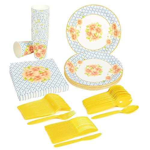 Disposable Dinnerware Set - Serves 24 - Vintage Floral Party Supplies - Includes Plastic Knives, Spoons, Forks, Paper Plates, Napkins, Cups