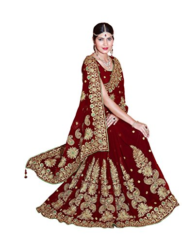 Bridal Sarees - Mirchi Fashion Women's Heavy Embroidery Bridal/Wedding Wear Saree (2372_Maroon)