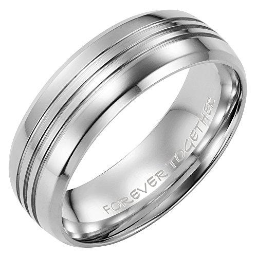 Willis Judd Mens New 7mm Titanium Band Ring Engraved Forever Together in Black Velvet Ring - Rings Forever Together
