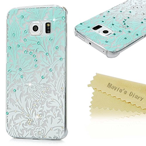 S6 Edge Case,Samsung Galaxy S6 Edge Case - Mavis's Diary 3D Handmade Bling Crystal Shiny Rhinestone Diamonds Special Hollow Floral Green Gradient Pattern Clear Case Hard PC Cover