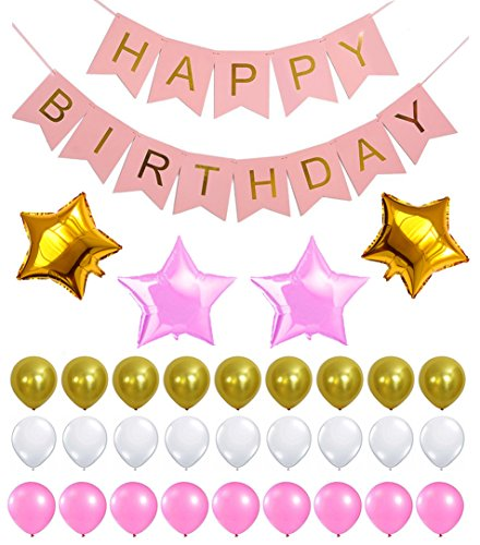 PINK HAPPY BIRTHDAY BANNER DECORATIONS SET - Pink and Gold Birthday Party Decorations | Pink Gold snd White Theme Balloon | Party Supplies for Princess, First, 2nd, 3rd, 5th, 7th, Girl, Women or Adult